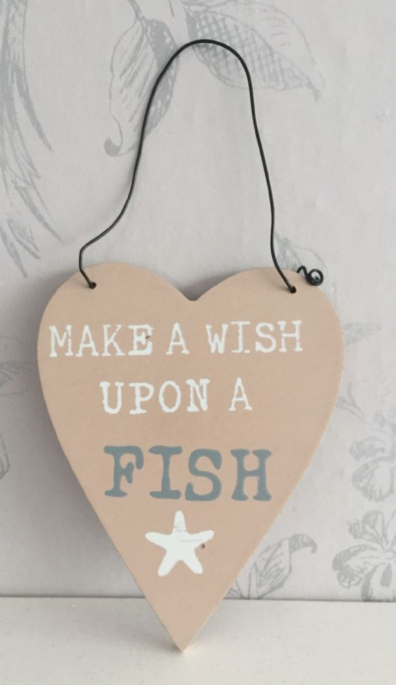 Make A Wish Upon A Fish Heart Plaque